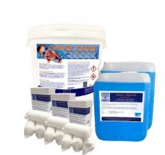 Angebot-JULI : 1 x 10kg Chlorino Multitabs ; 2 x 5L Algizid; 3 x 1 kg Flockmittel